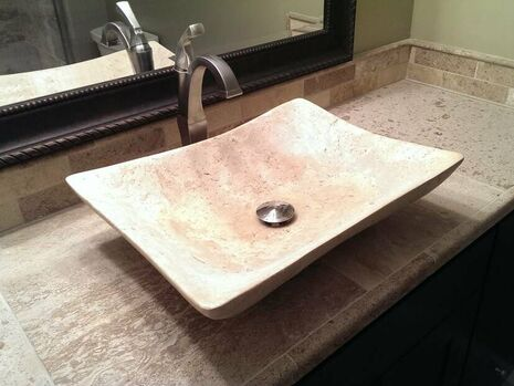 Bathroom vessel sink - bathroom remodel by West Construction - Construction Company - South Metro - Twin Cities Minnesota