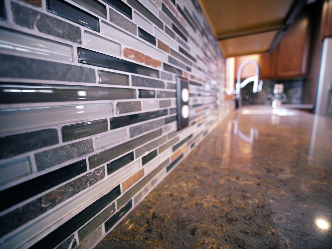 Close up of glass mosiac tiles - West Construction kitchen remodel - kitchen renovation - Northfield MN